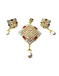 Poddar Jewels Cubic Zirconia Red Pearl Drop Pendant Set