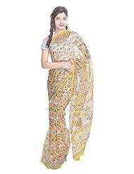 Kalrav Fashion Printed Yellow Kota Doria Cotton Saree