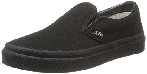 Vans Kids Classic Slip-On Blk/Blk Skate Shoe 4 Kids US