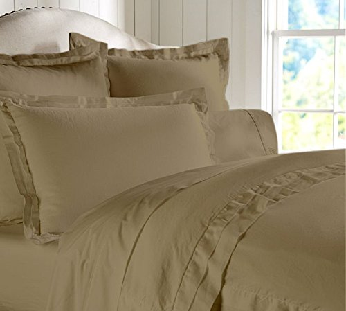"""Egyptian Cotton Luxurious Fitted Sheet With 17"""" Deep Pocket 800 TC Solid By Amrich Bedding ( Short Queen , Taupe..."""