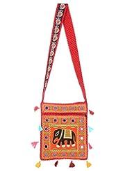 Rajrang Handmade Designs Elephant Printed Cotton Embroidered Work Orange Sling Bag
