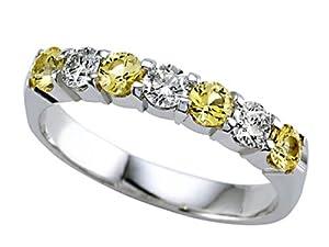 Karina B Round Diamond and Yellow Sapphire Band Platinum 950 Size 7.5