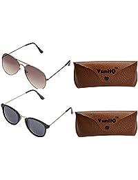 Combo Pack Of YuniiQ Black Aviators With Black Round Shape Unisex Sunglasses.