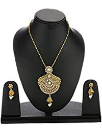 Zeneme Precious Designer Kundan Pendant Set With Chain And Earrings For Girls And Women