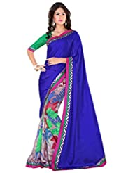 Alethia Blue Weight Less Casual Wear Printed Sarees With Unstitched Blouse