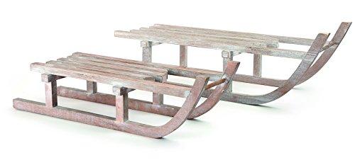Small Foot 10204 Deko-Schlitten aus Holz, 2er Set Dekofigur, Holz, Natur, 60.00 x 19.00 x 18.00 cm