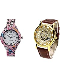 COSMIC COMBO WATCH- COLOURFUL STRAP ANALOG WATCH FOR WOMEN AND BROWN ANALOG SKELETON WATCH FOR MEN