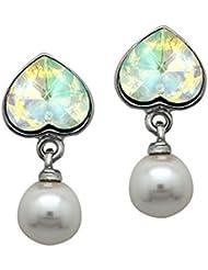 Mahi With Swarovski Elements Valentine Heart Pearl Rhodium Plated Earrings For Women ER1104094R