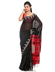 B3Fashion Bengal Tant Handloom Super Soft Silk Saree In Black With Temple Border Work In Beige Color And Mango...