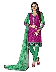 Inddus Women Magenta & Green Cotton Unstitched Dress Material