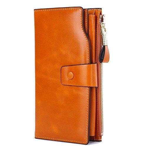 GDTK Grande capacité de cire de luxe en cuir véritable Portefeuille femme avec fermeture éclair de poche (Marron)