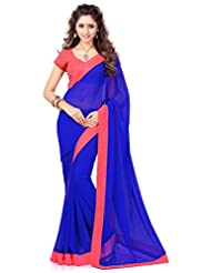 Sourbh Saree Lace Work Blue And Peach Faux Georgette Best Sarees For Women(with Color Option) Party Wear,Karwa...