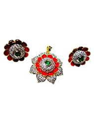 Poddar Jewels Cubic Zirconia Red Meena Pendant Set