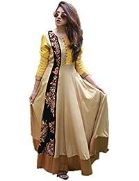 Royal Export Women's Cotton Beige Anarkali Semi-Stitched Salwar Suit
