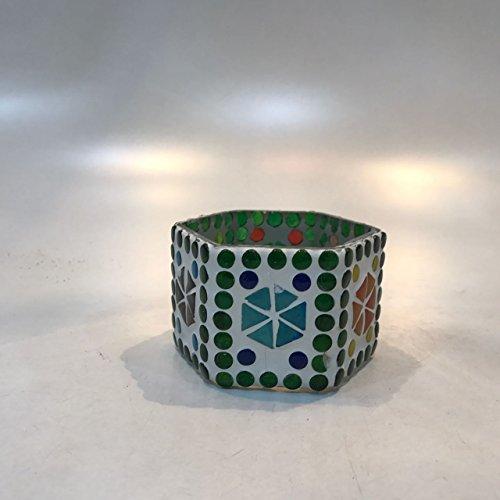 Dlite Crafts Multicolor Polka Design Home Decorative Votive Candle Holder, Set Of 2 PCs - B06XYL1MC3