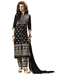 72c0747449 BanoRani Black Color Cotton Embroidery Semi Stitched Salwar Suit (Pant  Style)