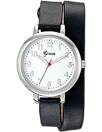 Geneva Women's 2438B-GEN Silver-Tone Wrap Watch