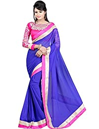 Jhalak Blue Chiffon Saree With Fancy Work Blouse