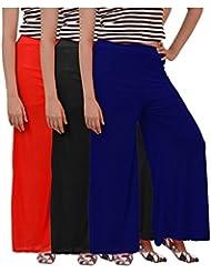 Womens Plazzo Combo Of 3 (Black,Red And Dark Blue)