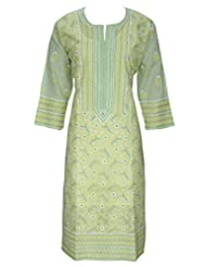 Ada Chikan Hand Embroidery Ethnic Green Cotton Lucknowi Kurti For Women A67079