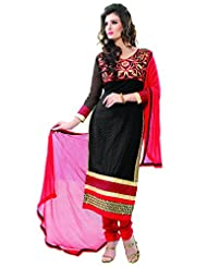 Manvaa Black And Red Embroidered Suit With Georgette Fabric