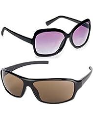New Stylish UV Protected Combo Pack Of Sunglasses For Women / Girl ( BlackButterfly-BrownWrap ) ( CM-SUN-005 )