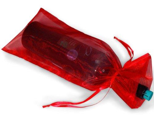 10 Red Bottle & Wine Organza Gift Bag