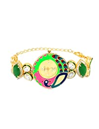 Peacock Theme Multicolor Enamel Green Onyx & White Cubic Zirconia Gold Plated Brass Watch