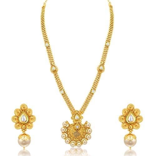 Sukkhi Blossomy Jalebi Gold Plated Kundan Necklace Set For Women