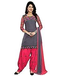 Desi Look Women's Grey Cotton Patiyala Dress Material With Dupatta - B01969T04C