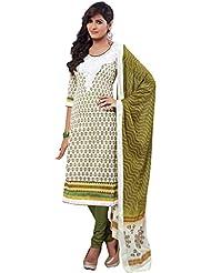 Riti Riwaz White Cotton Pakistani Suit With Dupatta