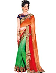 AG Lifestyle Orange & Green Jacquared Saree With Unstitched Blouse ASL802