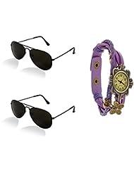 Combo Pack Of Black Frame Black Glass Aviator Sunglasses With Designer Purple Wrist Watch - Pack Of 2 Box