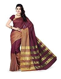 Rani Saahiba Art Cotton Silk Saree(Purple_SKR1177)