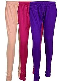 Cotton Leggings (Culture The Dignity Women's Cotton Leggings Combo Of 3_CTDCL_CP1V_CREAM-PURPLE-VIOLET_FREESIZE)