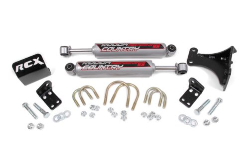 Rough Country – 87349 – Dual Steering Stabilizer for 2-6-inch Lifts w/ Performance 2.2 Shocks