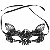 Black White Sexy Lace Eye Cat Face Mask Masquerade Party (Black)