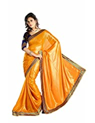 Mustard Kitty Party Wear Embroidery Work Faux Georgette Shimmer Sari