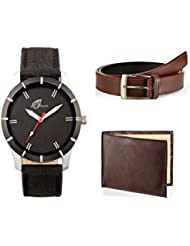 ARUM BLACK LEATHER TRENDY WATCH COMBO WITH BROWN BELT & WALLET