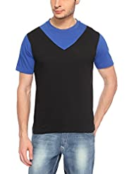 Hot Pepper Men's Cotton Round Neck - V Style - Half Sleeve T-shirt - Black And Blue