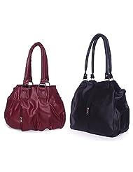 Arc HnH Women Combo Handbag Contemporary Black + Pretty Pink