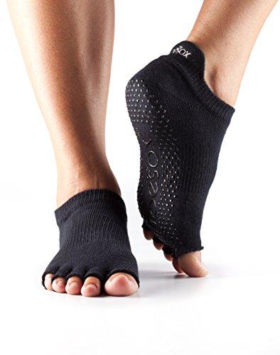 ToeSox Women's Grip Half Toe Low Rise Socks, Small, Black