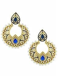 The Art Jewellery Rajwadi Blue Color Chand Shaped Dangle&Drop Earrings For Women
