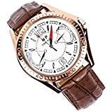 Imported Leatherete Np Analog White Dial With Golden Frame Chromometer Style Mens Match..!!!