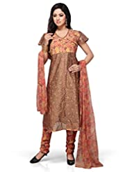 Brown Printed And Embroided Anarkali Churidar Kameez