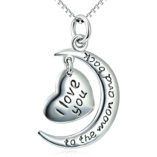 "925 Sterling Silver ""I Love You to the Moon and Back"" Heart Charm Pendant Necklace 18″"