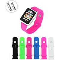 CREJOY 38mm Silicone Watch Band Fitness Adapters Replacement Straps Bracelet Wrist Band Watch Band For Apple Watch... - B010Q1AH1E