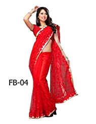 Fabboom Net Saree With Blouse Piece (Fb-04 _Red)
