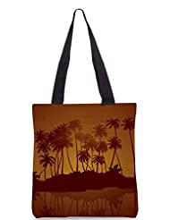 Snoogg Tropical Night Vector Background Designer Poly Canvas Tote Bag