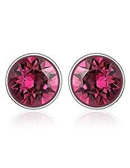 Mahi Rhodium Plated Purple Bolt Earrings Made With Swarovski Elements For Women ER1104083RPur